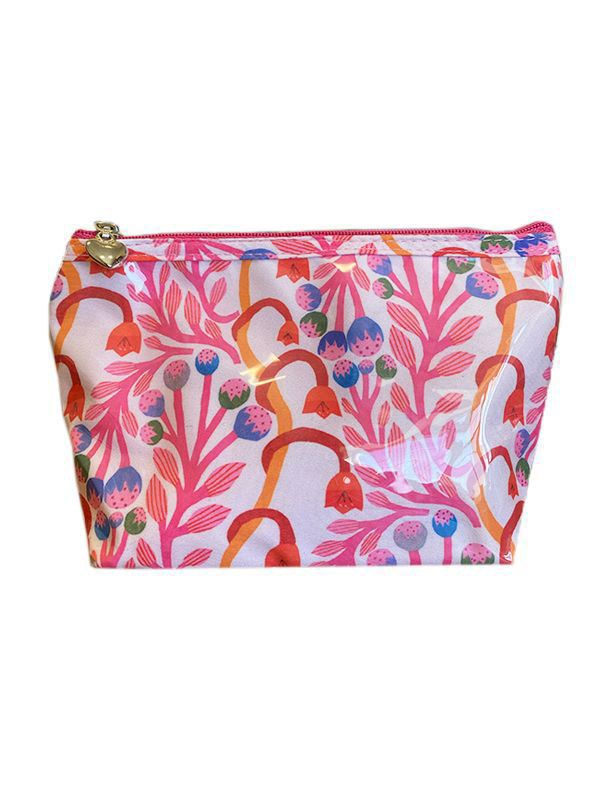strawberry vine pink cosmetic bag small
