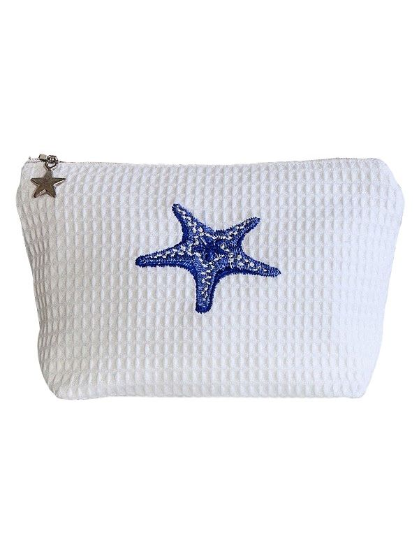 DG56-MSFBL Cosmetic Bag (Small), Waffle Weave - Morning Starfish (Blue)