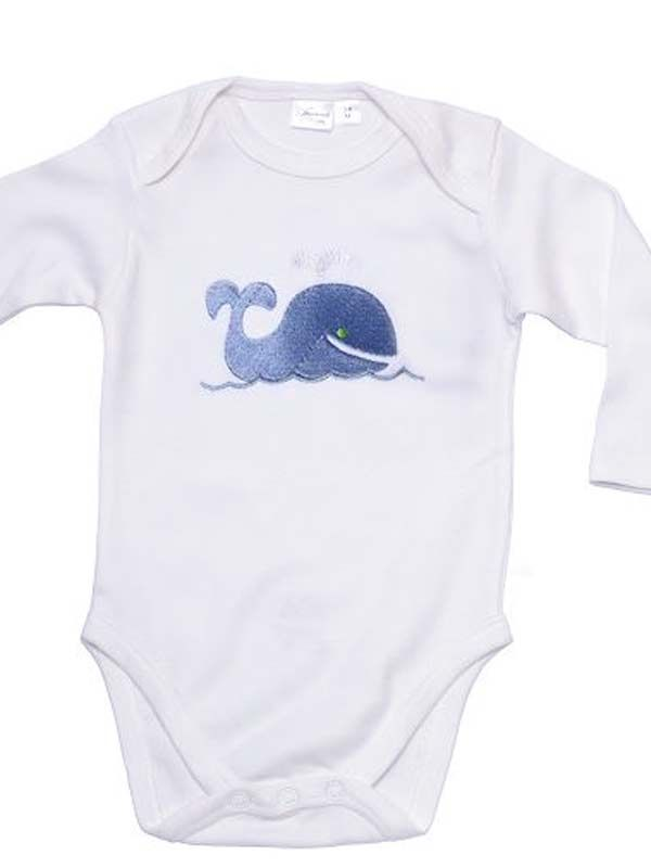 blue whale embroidered onesie