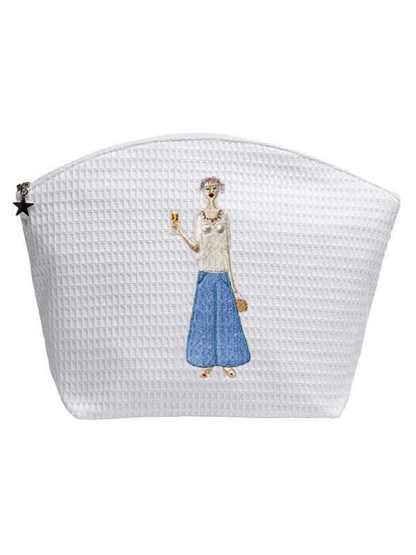 Cosmetic Bag (Large), Champagne Lady (Blue) - DG07-CHLBL