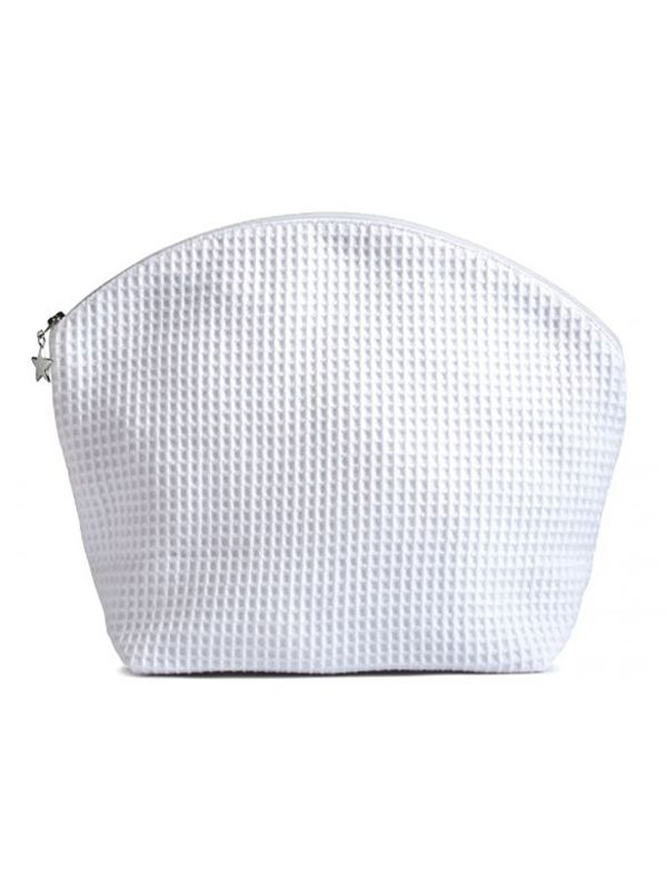 Cosmetic Bag (Large) - White Waffle Weave, Curved Top - DG26