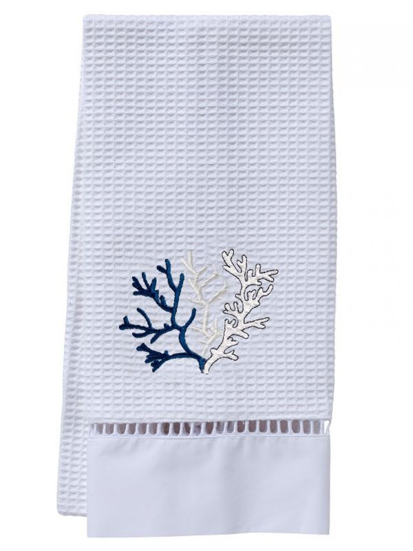 Guest Towel, Waffle Weave, Coral (Navy) - DG02-CLNA