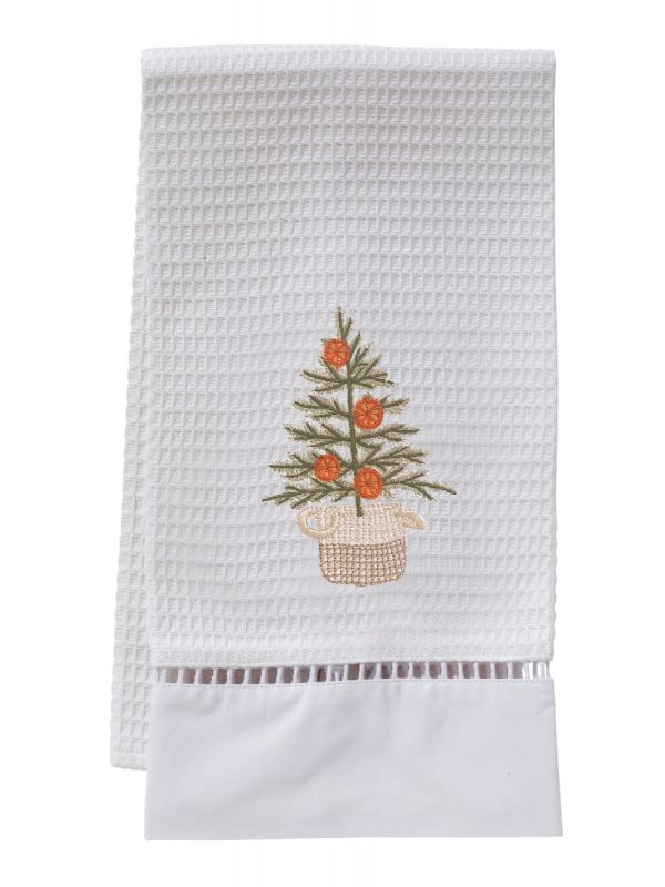 oranges for christmas waffle weave guest towel