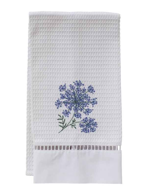 Guest Towel - White Waffle Weave, Ladder Lace, Embroidered - DG02
