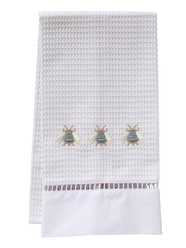 Guest Towel, Waffle Weave, Three Napoleon Bees (Duck Egg Blue) - DG02-TNBDE**