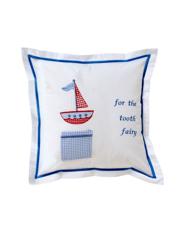 red sailboat tooth fairy pillow