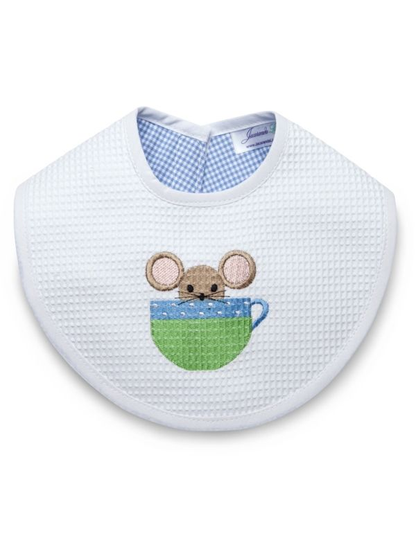Bib, Mouse in Cup (Blue) - DG133-MICB**