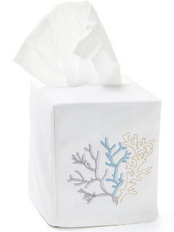 Tissue Box Cover Coral Duck Egg Blue