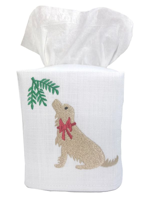 holiday yellow lab tissue box cover
