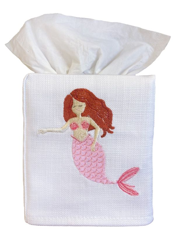 red headed mermaid pink tissue box cover