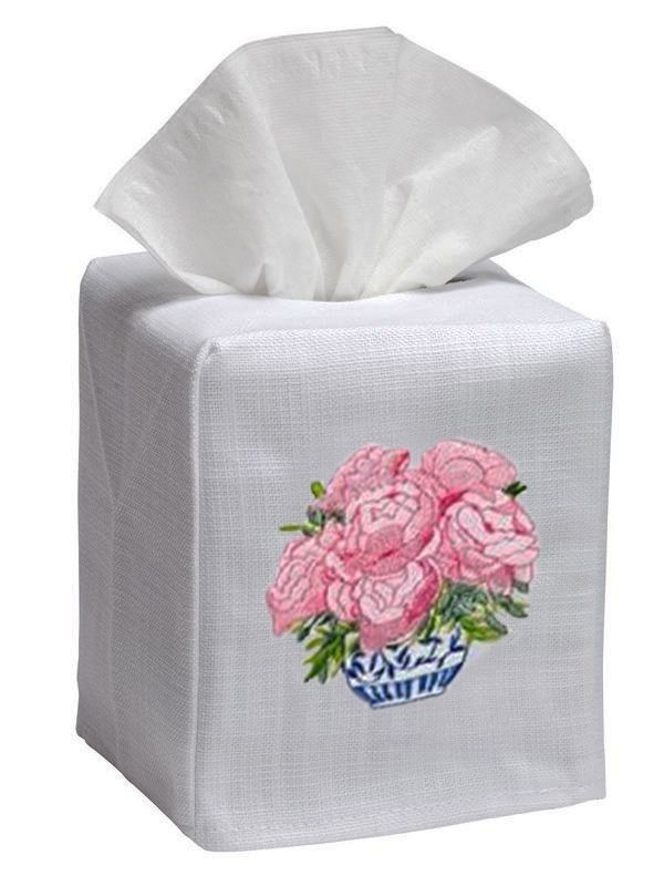 pink pot of peonies tissue box cover