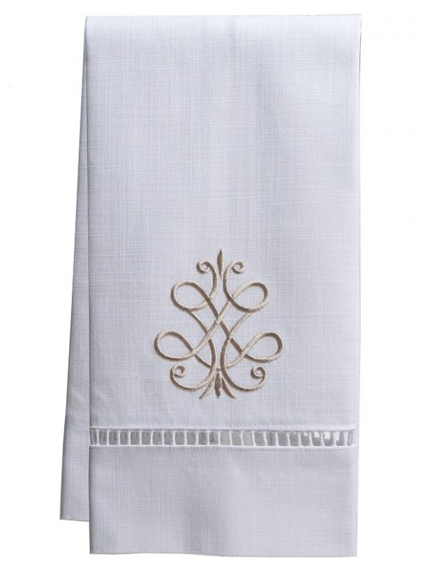Guest Towel, White Linen/Cotton & Ladder Lace, French Scroll (Beige) - DG21-FSBE**