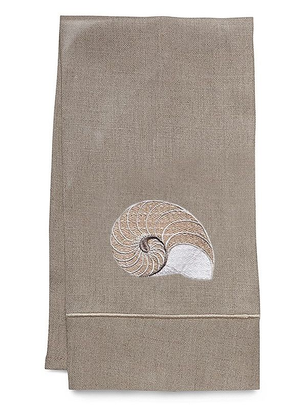 Guest Towel - Natural Linen, Satin Stitch, Embroidered - DG33