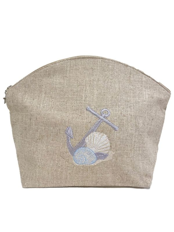 anchor and shells cosmetic bag large