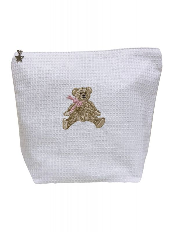 pink bow teddy large cosmetic bag