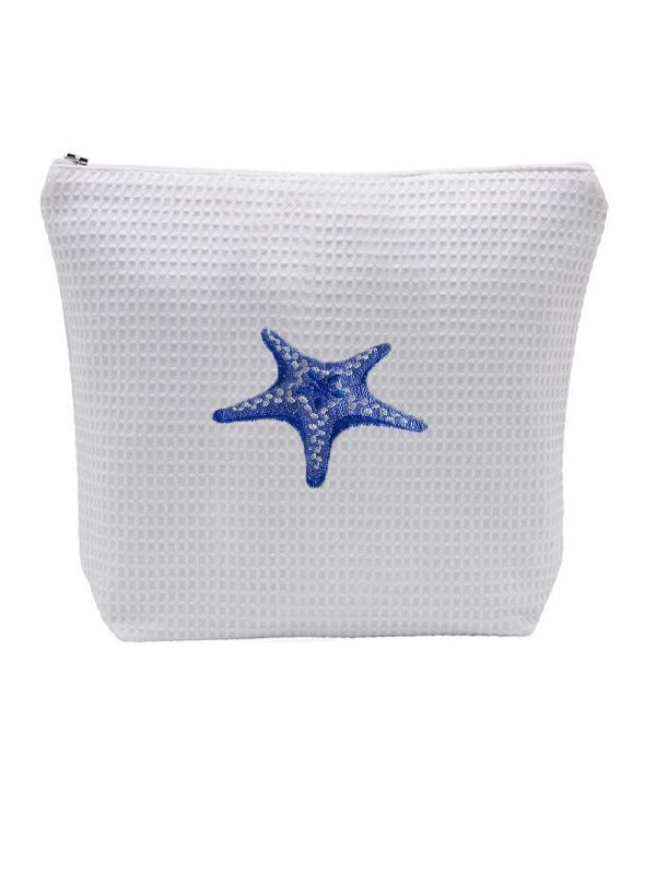 DG54-MSFBL Cosmetic Bag (Large), Waffle Weave - Morning Starfish (Blue)