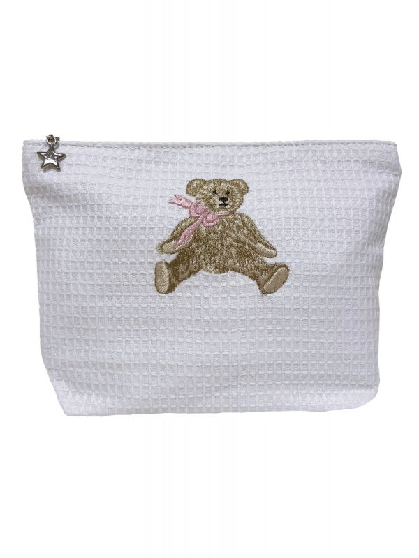 bow teddy pink waffle weave cosmetic bag