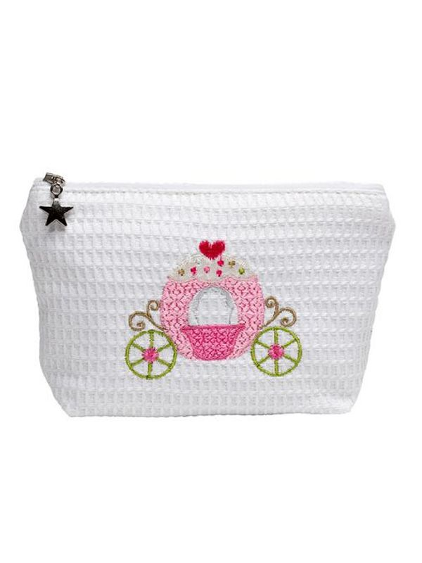 DG56-CCPK Cosmetic Bag (Small), Waffle Weave - Cinderella's Carriage (Pink)
