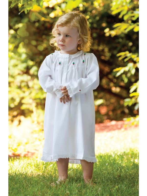 christmas white cotton dress with embroidered christmas trees