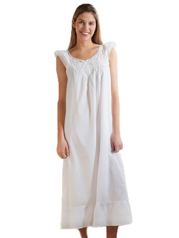 Olivia White Cotton Nightgown, Embroidered - EL256**
