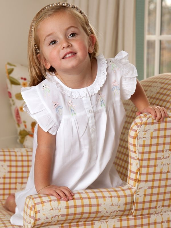 Little People White Cotton Dress, Embroidered** - EL278