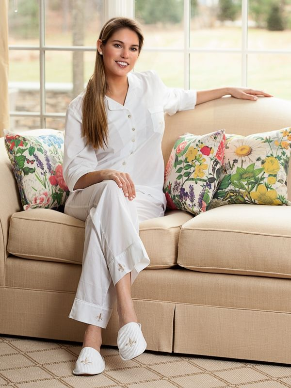 Laurie White Cotton Pajamas, Embroidered - EL279**