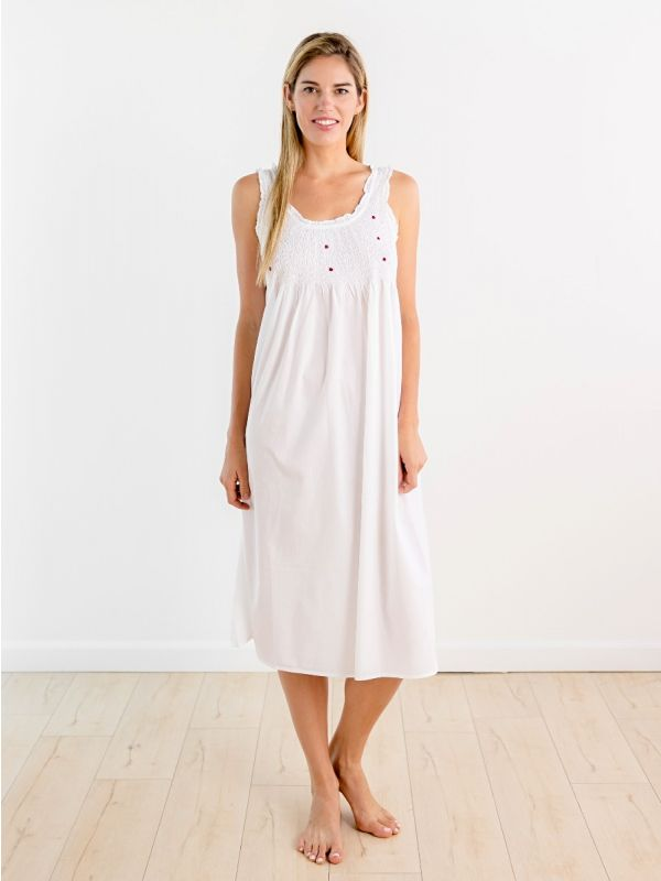 elise white cotton nightgown with red rosebud embroidery