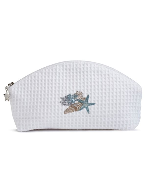 Cosmetic Bag (Small), Shell Collection (Blue / Beige) - DG10-SHCBB