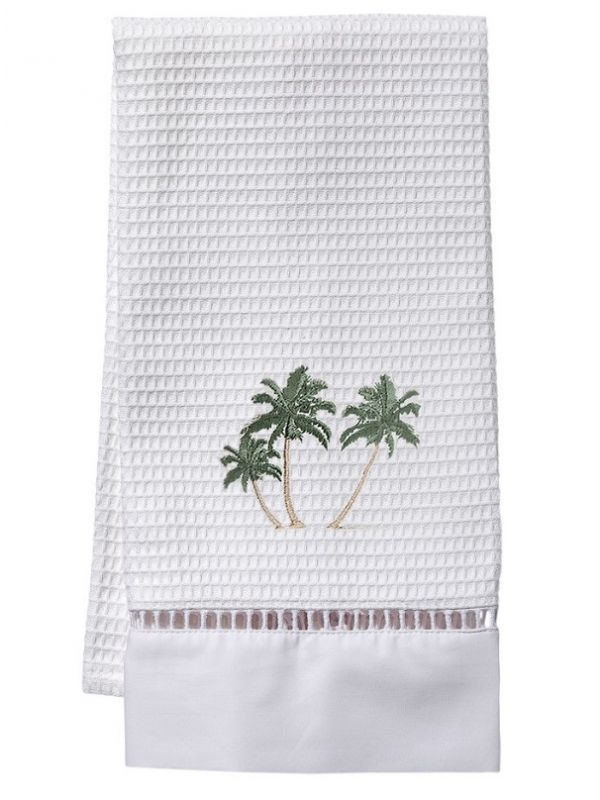Guest Towel, Waffle Weave, Three Palm Trees (Green) - DG02-TPT**