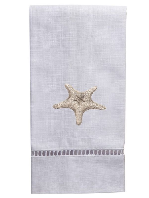 Guest Towel, White Linen/Cotton & Ladder Lace, Morning Starfish (Beige) - DG21-MSFBE**