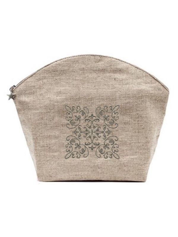 Cosmetic Bag, Natural Linen (Large), Corsican Scroll (Pewter) - DG39-CSPW