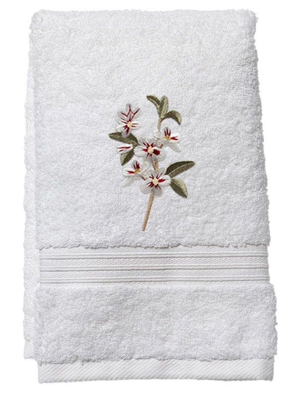Guest Towel, Terry, Apple Blossom (White) - DG70-ABWH**