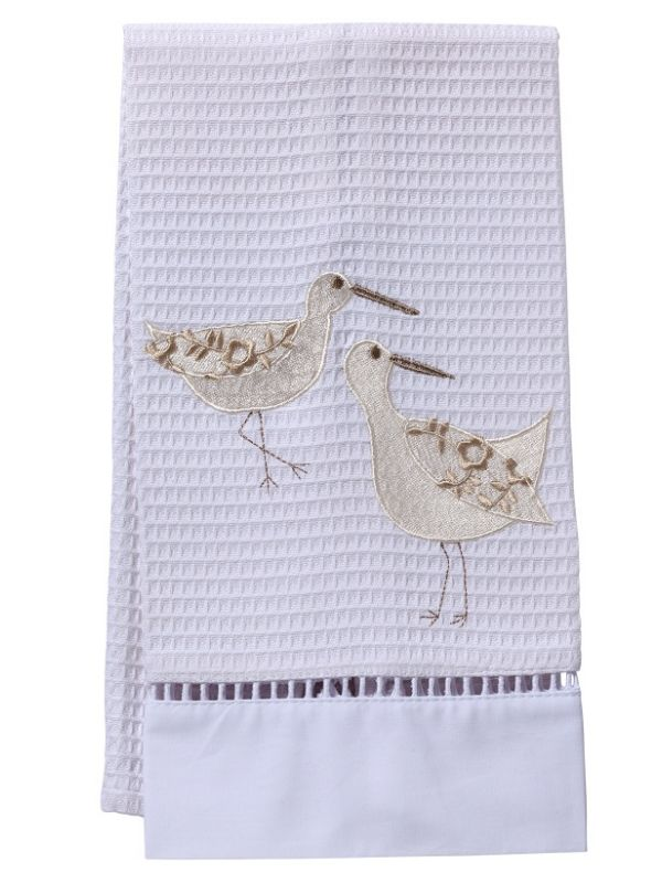 Guest Towel, Waffle Weave, Sandpipers (White/Cream) - DG02-SPWCR**