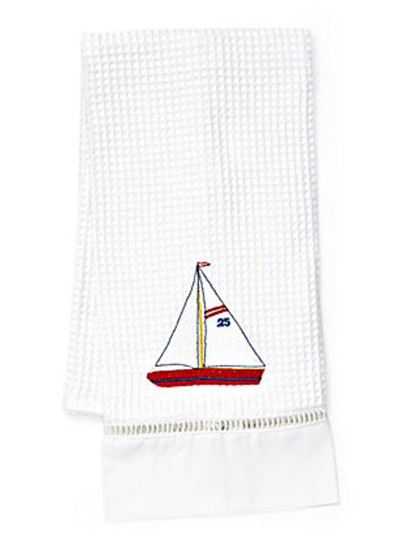Guest Towel , Waffle Weave, Sailboat (Red, White) - DG02-SBRW**