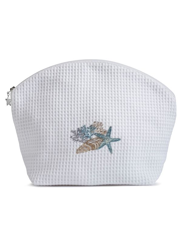 Cosmetic Bag (Large), Shell Collection (Blue, Beige) - DG07-SHCBB