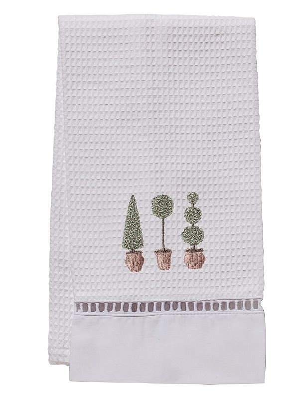 Guest Towel, Waffle Weave, Three Topiary Trees (Olive) - DG02-TTTO