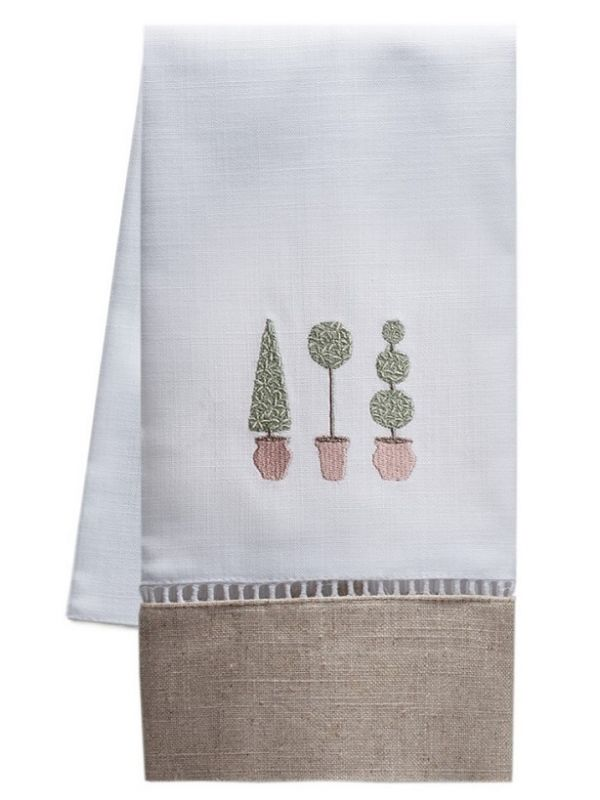 Guest Towel, Combo Linens, Three Topiary Trees (Olive) - DG49-TTTO