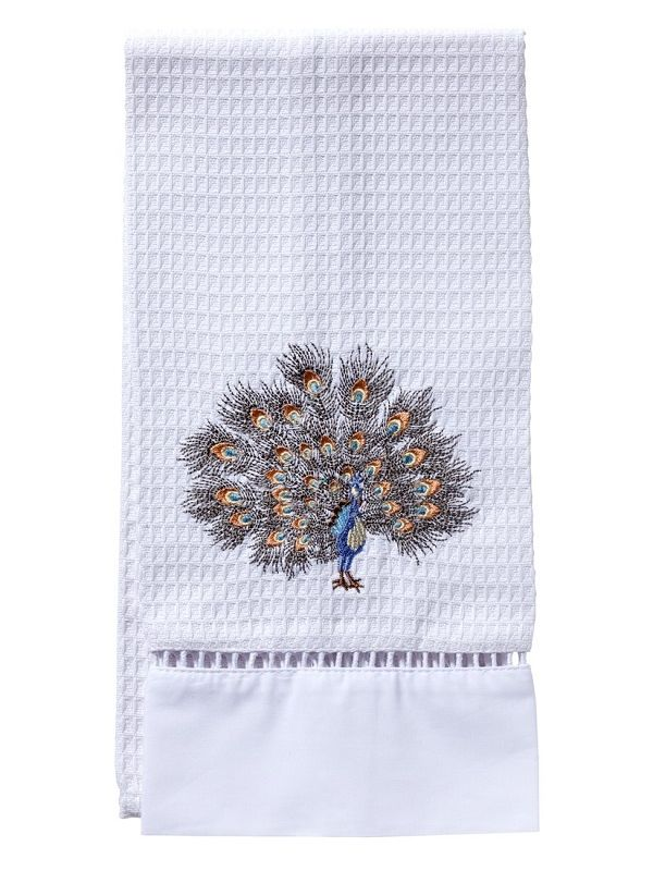 Guest Towel, Waffle Weave, Feathered Peacock (Gold, Pewter) - DG02-FPGPW