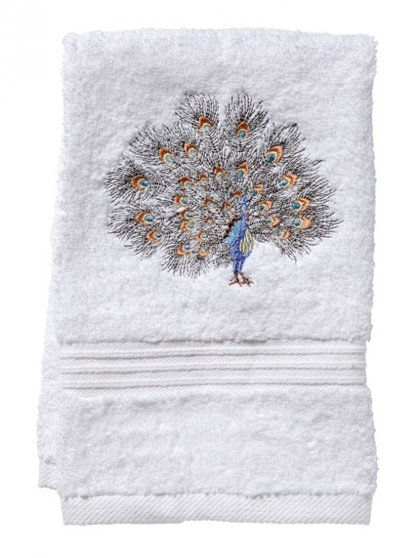 Guest Towel, Terry, Feathered Peacock (Gold/Pewter) - DG70-FPGPW