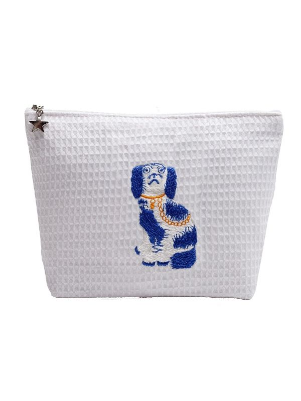 Cosmetic Bag (Medium) - White Waffle Weave, Embroidered - DG55