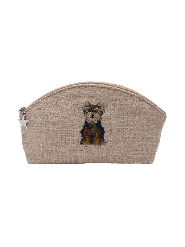 Cosmetic Bag, Natural Linen (Small), Yorkie Dog (Brown) - DG38-YD