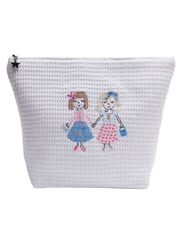 Cosmetic Bag (Large) - White Waffle Weave, Embroidered - DG54