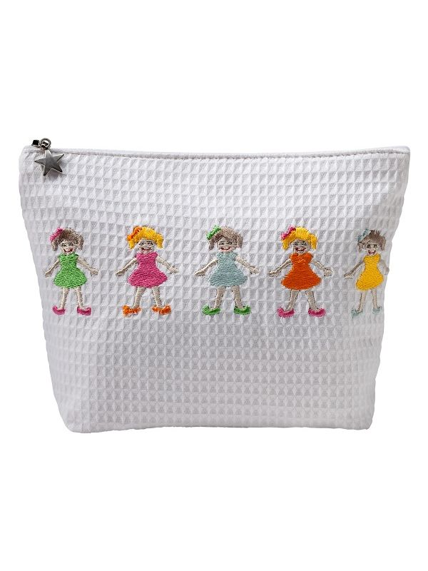 row of girls cosmetic bag waffle weave and embroidered