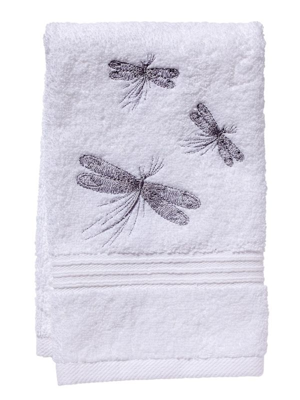 Guest Towel, White Cotton Terry, Three Classic Dragonflies (Pewter) - DG70-THCDPW
