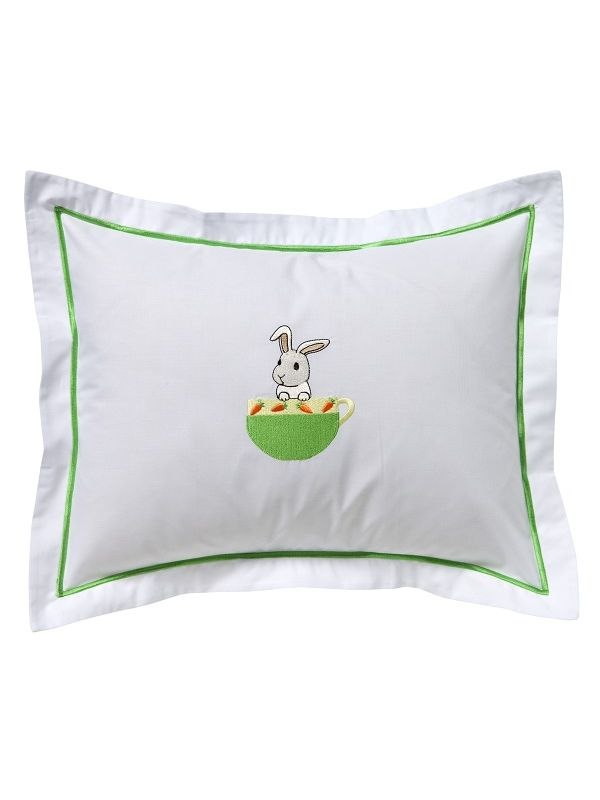 Baby Boudoir Pillow Cover, Bunny in a Cup (Green/Yellow) - DG81-BUICGY