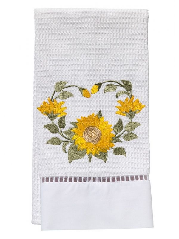 Guest Towel, Waffle Weave, Sunflower Circle (Yellow) - DG02-SNFCY