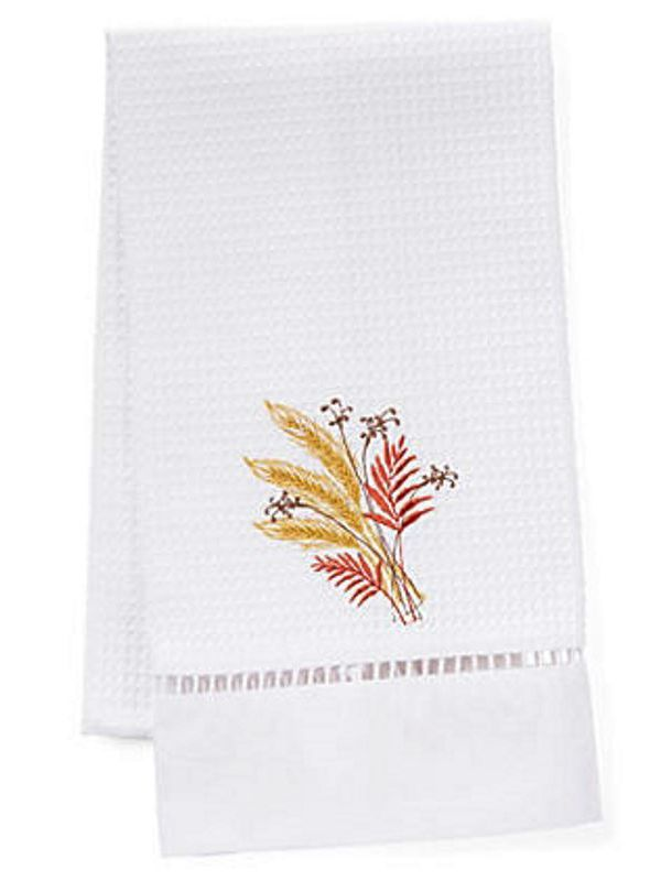 Guest Towel, Waffle Weave, Wheat Sheaf (Red, Gold) - DG02-WSRG