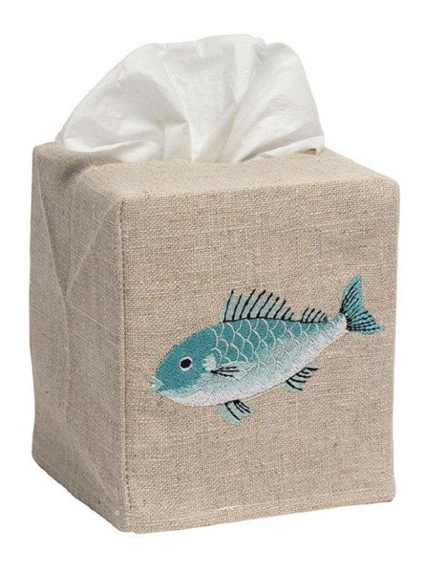 Tissue Box Cover, Natural Linen, Embroidered - DG23