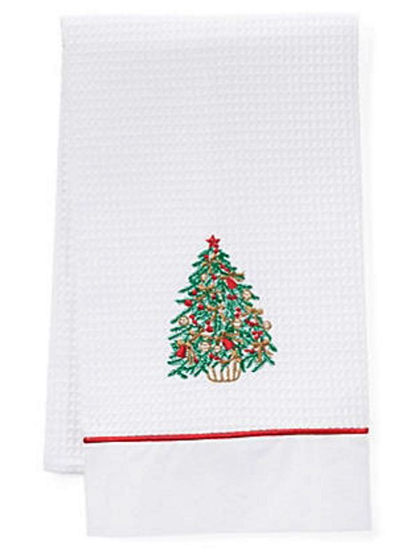Guest Towel, Waffle Weave and Satin Trim, Christmas Tree - DG08-CTGR**