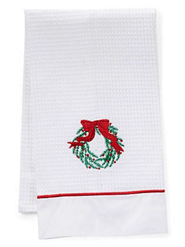 Guest Towel, Waffle Weave and Satin Trim, Christmas Wreath (Green, Red) - DG08-CWGR